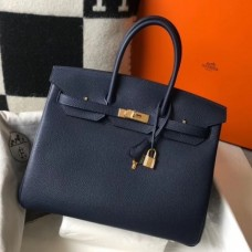 Hermes Birkin 30cm 35cm Bag In Navy Blue Clemence Leather