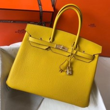 Hermes Birkin 30cm 35cm Bag In Yellow Clemence Leather