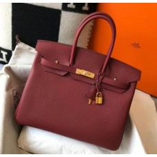 Hermes Birkin 30cm 35cm Bag In Bordeaux Clemence Leather