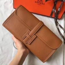 Hermes Jige Elan 29 Clutch Bag In Gold Epsom Leather