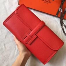 Hermes Jige Elan 29 Clutch Bag In Red Epsom Leather