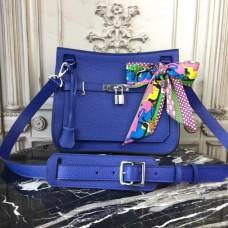 Hermes Blue Electric Clemence Jypsiere 28cm Bag