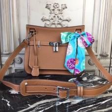 Hermes Brown Clemence Jypsiere 28cm Bag