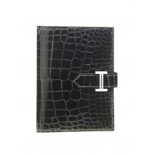 Hermes classic crocodile pattern H buckle two-fold short women wallet black