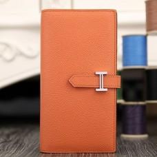 Hermes Orange Epsom Bearn Gusset Wallet