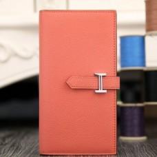 Hermes Rose Lipstick Epsom Bearn Gusset Wallet