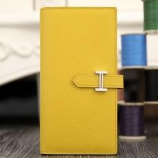 Hermes Yellow Epsom Bearn Gusset Wallet