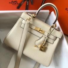 Hermes Mini Kelly 20cm Bag In Craie Clemence Leather