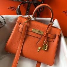 Hermes Mini Kelly 20cm Bag In Orange Clemence Leather