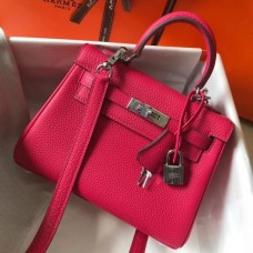 Hermes Mini Kelly 20cm Bag In Rose Red Clemence Leather