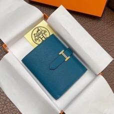 Hermes Bearn Compact Wallet In Blue Izmir Epsom Leather