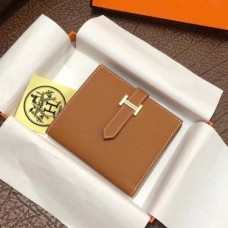 Hermes Bearn Compact Wallet In Gold Epsom Leather