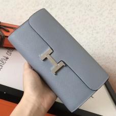 Hermes Blue Lin Epsom Constance Long Wallet