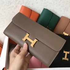 Hermes Taupe Epsom Constance Long Wallet