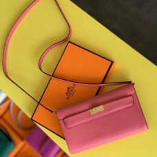 Hermes Kelly Classique To Go Wallet In Rose Lipstick Epsom Calfskin