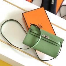 Hermes Kelly Classique To Go Wallet In Vert Criquet Epsom Calfskin