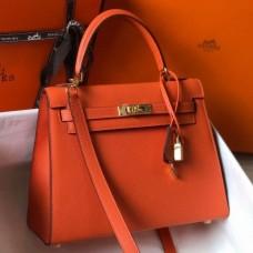 Hermes Orange Epsom Kelly 25cm Sellier Handmade Bag