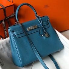 Hermes Blue Jean Clemence Kelly 25cm PHW Bag
