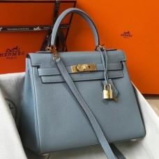 Hermes Blue Lin Clemence Kelly 25cm GHW Bag