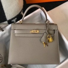 Hermes Kelly 25cm Sellier Bag In Gris Asphalt Epsom Leather