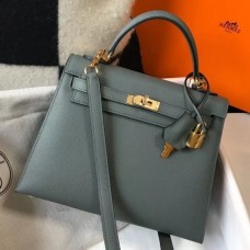 Hermes Kelly 25cm Sellier Bag In Vert Amande Epsom Leather