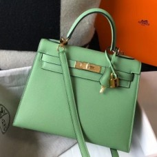 Hermes Kelly 25cm Sellier Bag In Vert Criquet Epsom Leather