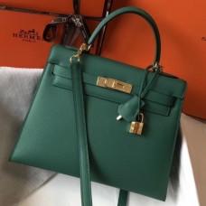 Hermes Kelly 28cm Sellier Bag In Malachite Epsom Leather