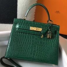 Hermes Kelly 28cm Bag In Green Embossed Crocodile GHW