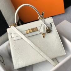 Hermes Kelly 28cm Bag In White Embossed Crocodile GHW