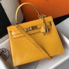 Hermes Kelly 28cm Bag In Yellow Embossed Crocodile GHW