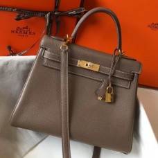 Hermes Taupe Clemence Kelly 28cm Bag