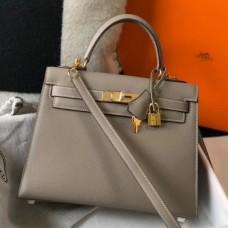 Hermes Gris Asphalt Epsom Kelly 28cm Sellier Bag GHW