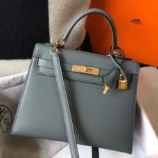 Hermes Kelly 28cm Sellier Bag In Vert Amande Epsom Leather