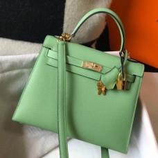 Hermes Kelly 28cm Sellier Bag In Vert Criquet Epsom Leather