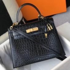 Hermes Kelly 32cm Bag In Black Embossed Crocodile GHW