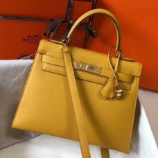 Hermes Kelly 32cm Sellier Bag In Yellow Epsom Leather