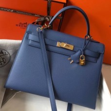 Hermes Kelly 32cm Sellier Bag In Blue Agate Epsom Leather