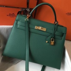 Hermes Kelly 32cm Sellier Bag In Malachite Epsom Leather