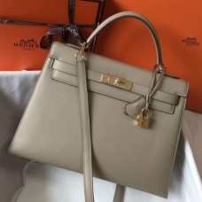 Hermes Kelly 32cm Sellier Bag In Tourterelle Epsom Leather
