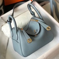 Hermes Mini Lindy Bag In Blue Lin Clemence Leather