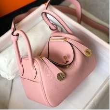 Hermes Mini Lindy Bag In Pink Clemence Leather