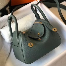 Hermes Mini Lindy Bag In Vert Amande Clemence Leather