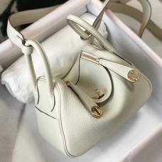 Hermes Mini Lindy Bag In White Clemence Leather
