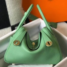 Hermes Lindy 26cm Bag In Vert Criquet Clemence With GHW