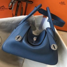 Hermes Blue Agate Clemence Lindy 30cm Bag with PHW