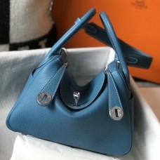 Hermes Lindy 26cm Bag In Blue Jean Clemence With PHW