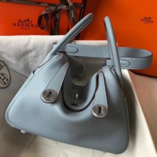 Hermes Lindy 26cm Bag In Blue Lin Clemence With PHW