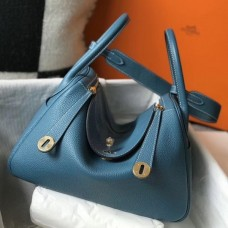 Hermes Blue Agate Clemence Lindy 30cm Bag with GHW