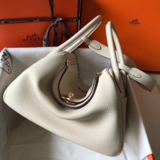 Hermes Craie Clemence Lindy 30cm Bag with GHW