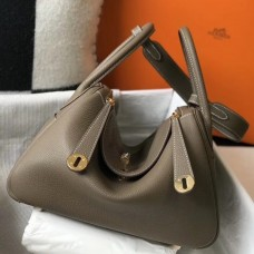 Hermes Taupe Grey Clemence Lindy 30cm Bag with GHW